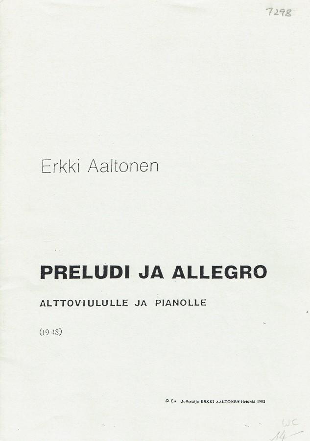 Präludium und Allegro, für Bratsche und Klavier