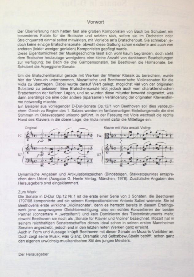 Sonate D-dur, op.  12, Nr. 1, für Violine und Klavier, arrangiert für Bratsche und Klavier
