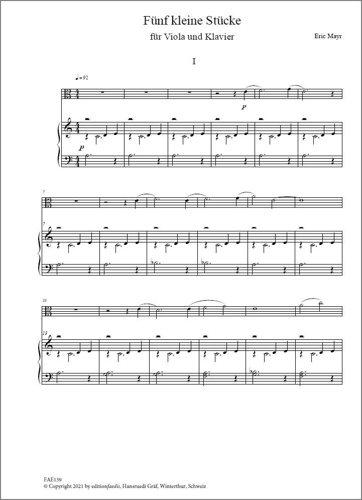 Fünf kleine Stücke, für Bratsche und Klavier